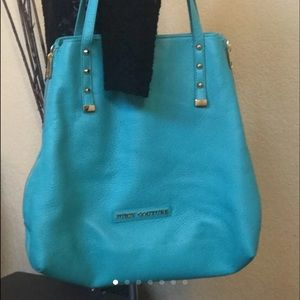 Teal Leather Expandable Bag